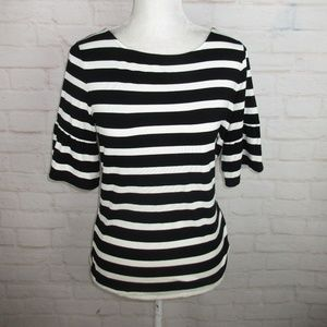 Talbots Petite M Striped Ruffle Sleeve Top